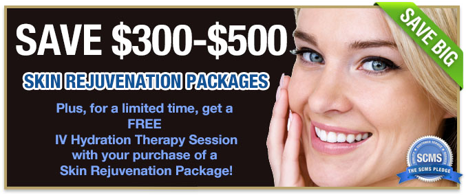 Save $300-$500 off skin rejuvenation packages plus get 1 free IV Hydration Therapy Session with purchase of a skin rejuvenation package