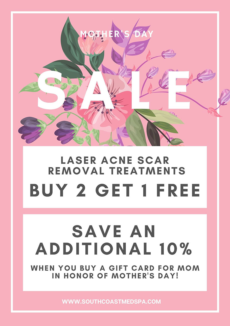 Buy 2 Laser acne scar removal treatments, get 1 free - save an additional 10% when you buy a gift card for mom