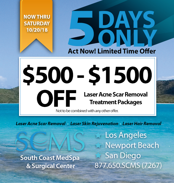 5 day sale - save $500 - $1500 off laser acne scar removal packages