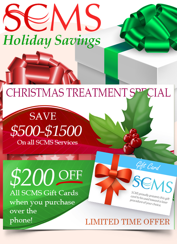 Save 20-50% off all laser procedure packages or buy a package gift card and receive a complemetary $450 skincare treatment