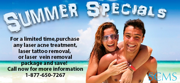 Call 1-877-650-7267 for laser acne treatment, laser tattoo removal, and laser vein removal specials